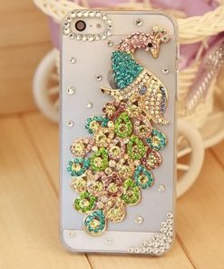 Elegantný kryt s farebným pávom a kryštálikmi pre iPhone