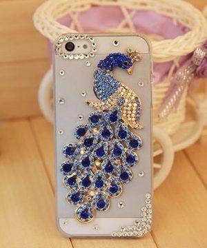 Elegantný kryt s modro-zlatým pávom a kryštálikmi pre iPhone