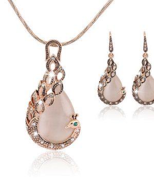 Elegantný šperkový set - naušnice + náhrdelník, v tvare páva s krásnym kryštálom