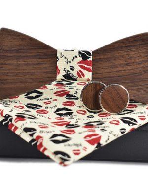 Elegantný spoločenský set - tmavohnedý drevený motýlik + manžety + vreckovka, vo viacerých farebných prevedeniach