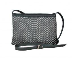Kožená kabelka ručne vyšívaná v čiernej farbe – šedé vyšívanie 855e1489789