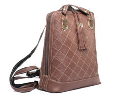 Luxusný kožený ruksak z pravej hovädzej kože so strapcami č.8661 v hnedej  farbe 31b43c6a226