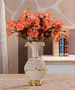 Luxusná porcelánová váza s kvietkami v bielo-zlatej farbe, 25,5 cm x 13 cm