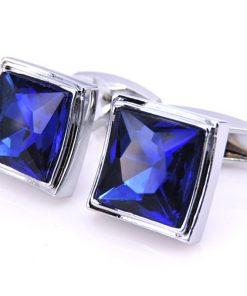 Luxusné manžetové gombíky s modrým kryštálom v striebornej farbe