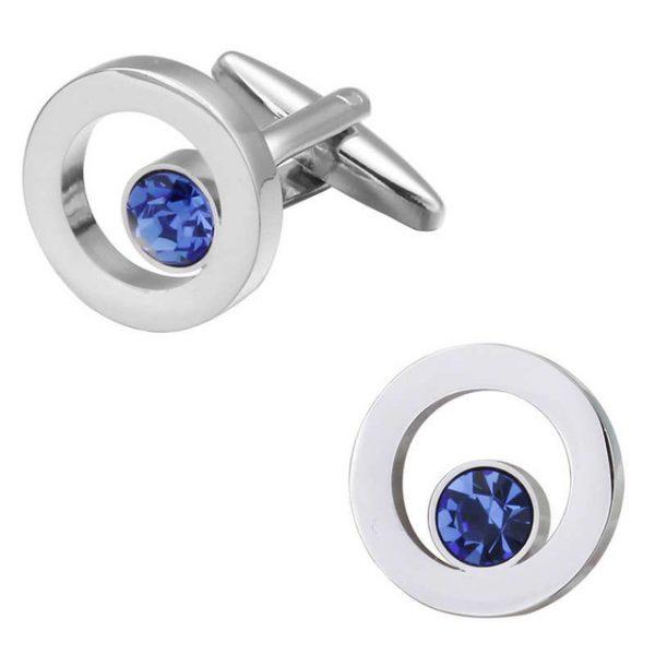 Luxusné manžetové gombíky v tvare kruhu s malým modrým kryštálom