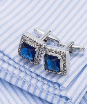 Luxusné manžetové gombíky v tvare štvorca s modrým kryštálom