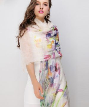 Luxusný dámsky šál s farebnými kvetmi , rozmer 200 cm x 95 cm