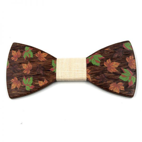 Luxusný drevený motýlik so vzorom javorového listu