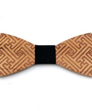 Luxusný drevený motýlik so vzorom labyrintu