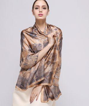 Luxusný hodvábny šál s jedinečným vzorom, rozmer 180 x 90 cm