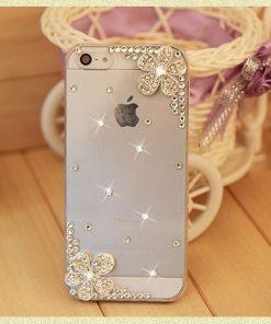 Luxusný kryt s kvietkami a kryštálikmi pre iPhone