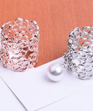 Luxusný prsteň na šatku,šál v dvoch rôznych farbách s perlou