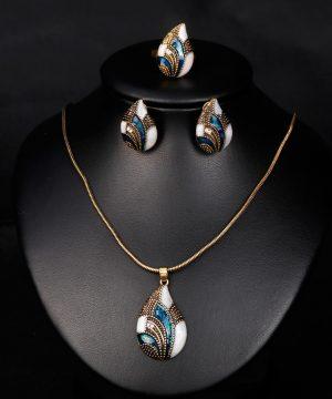 Luxusný šperkový set - naušnice + náhrdelník + prsteň, v tvare slzy