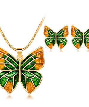 Luxusný šperkový set - naušnice + náhrdelník, v tvare motýľa