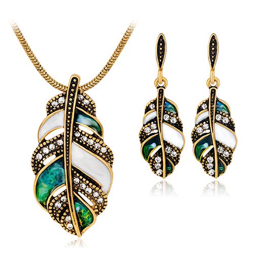 Luxusný šperkový set - naušnice + náhrdelník, v tvare pierka s kryštálikmi v dvoch rôznych farbách