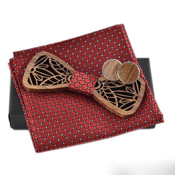 Luxusný spoločenský set - drevený motýlik + manžety + vreckovka