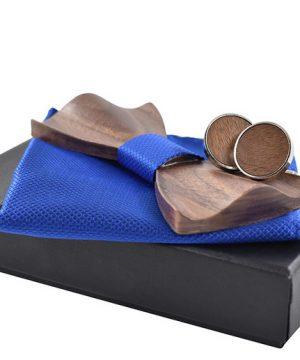 Luxusný spoločenský set - drevený motýlik so zaoblenými okrajmi + manžety + vreckovka, vo viacerých farbách