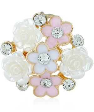 Luxusný trojprstenec v tvare kytice v ružovo-bielej farbe s kryštálikmi