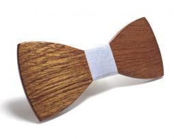 Luxusný spoločenský drevený motýlik s prúžkom v rôznych farbách