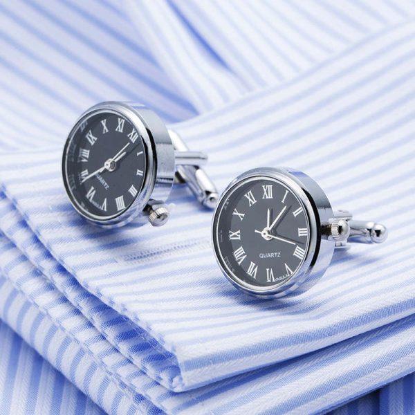 Originálne manžetové gombíky v tvare ručičkových hodiniek s čiernym ciferníkom