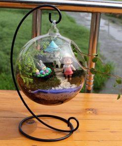 Transparentná sklenená guľôčková váza so stojanom