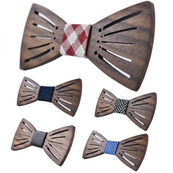 Unikátny drevený motýlik s výrezmi po stranách krídel, vo viacerých farbách