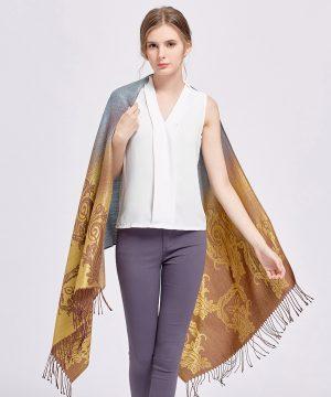Elegantný dámsky šál z kašmíru so vzorom v zlato-sivej farbe, č.4