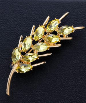 Luxusná brošňa v tvare pšeničného klasu v zlatej farbe