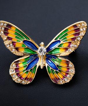 Luxusná smaltová brošňa v tvare farebného motýľa s kryštálikmi