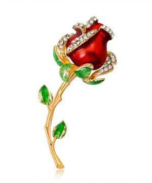 Luxusná smaltová brošňa v tvare ruže v dvoch rôznych farbách