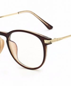 Moderné okruhlé okuliare na prácu s počítačom s hnedým rámom