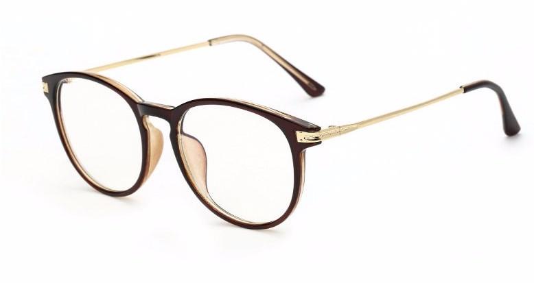 Moderné okruhlé okuliare na prácu s počítačom s hnedým rámom ... ac83c596199