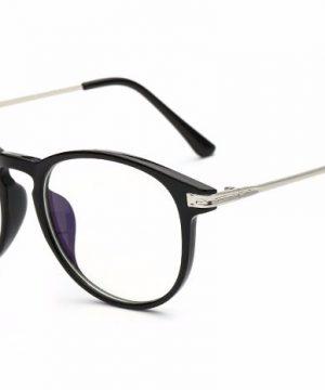 Moderné okruhlé priehľadné okuliare na prácu s počítačom s čiernym rámom