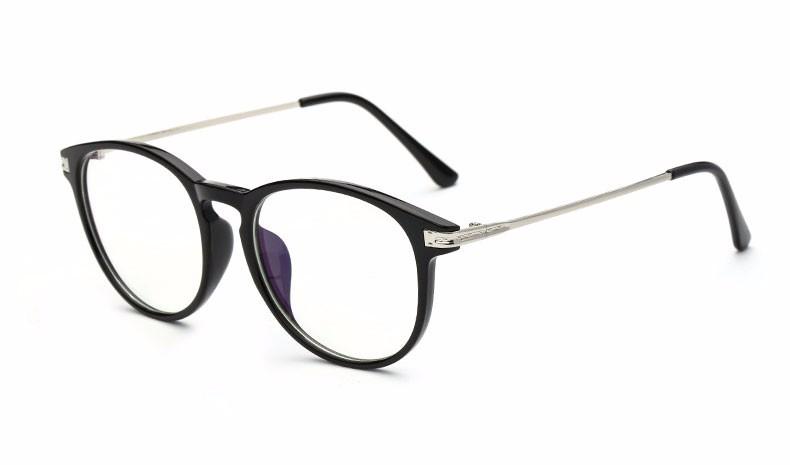 Moderné okruhlé priehľadné okuliare na prácu s počítačom s čiernym rámom d09fa53284d