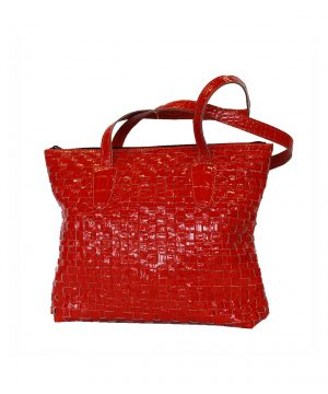 Luxusná tkaná kožená kabelka č. 8597 v červenej farbe