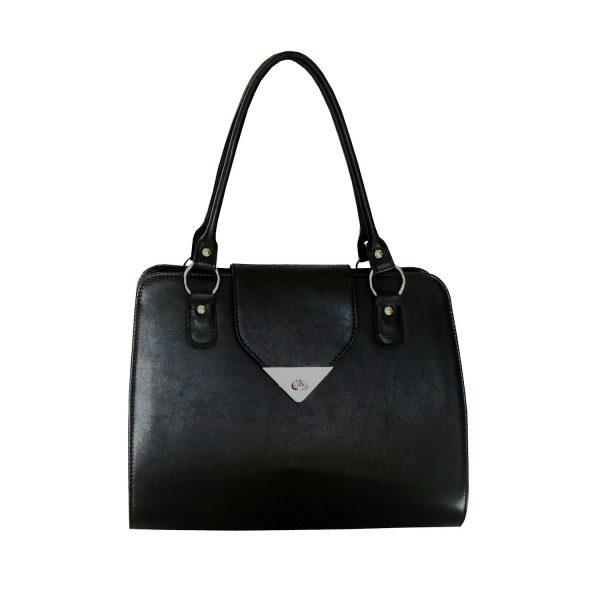 Dámska luxusná kožená kabelka v čiernej farbe