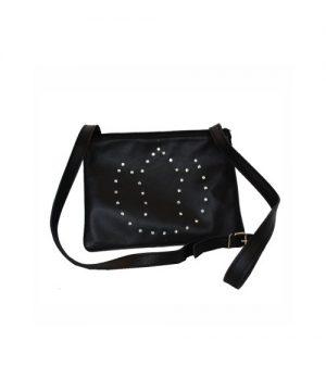 Luxusná kožená mini kabelka č.8628 s rakúskymi kryštálmi v čiernej farbe