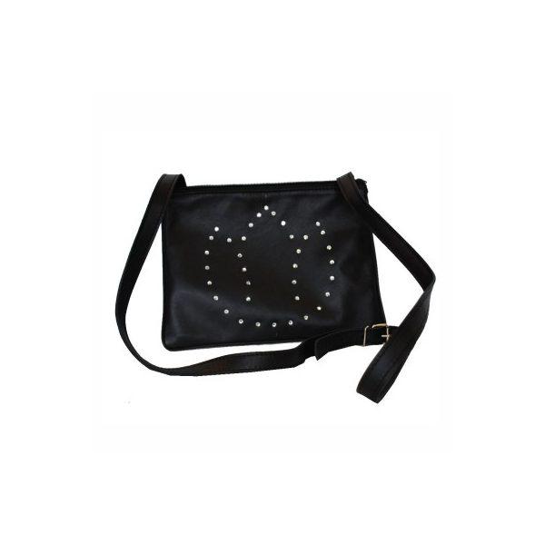 fbe5ebeff071 Luxusná kožená mini kabelka č.8628 s rakúskymi kryštálmi v čiernej farbe