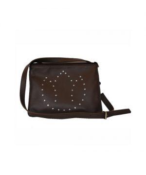 Luxusná kožená mini kabelka č.8628 s rakúskymi kryštálmi v hnedej farbe
