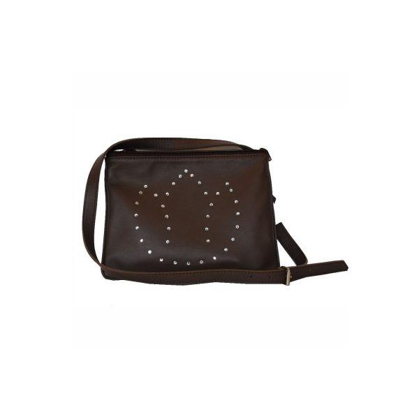 8dff221e33d5 Luxusná kožená mini kabelka č.8628 s rakúskymi kryštálmi v hnedej farbe