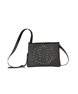 Luxusná kožená mini kabelka č.8628 s rakúskymi kryštálmi v šedej farbe