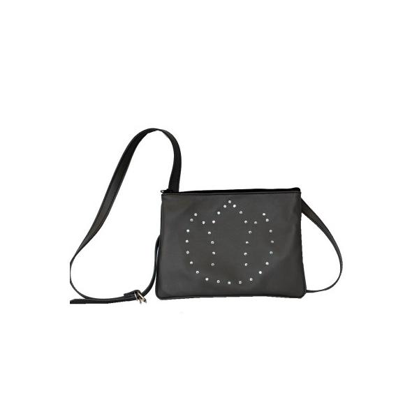 Luxusná kožená mini kabelka č.8628 s rakúskymi kryštálmi v šedej farbe dfc09bb40c8