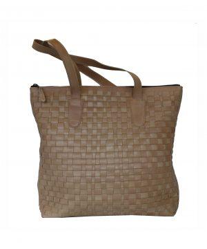 Luxusná exkluzívna tkaná kožená kabelka č. 8637 v bežovej farbe