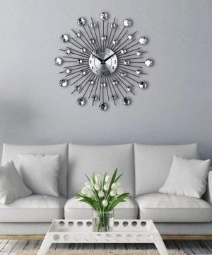 Luxusné kryštálové nástenné hodiny – strieborné