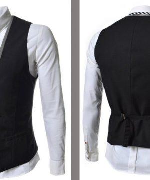 Luxusná dvojitá pánska vesta ku obleku v čiernej farbe
