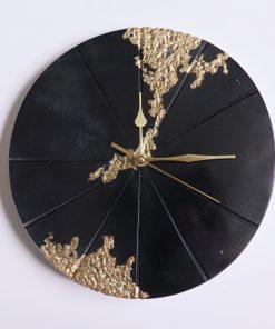 Ručne vyrobené nástenné hodiny – Black gold