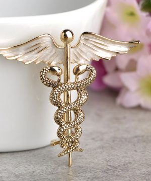 Jedinečná brošňa s krídlami a hadmi v zlatej farbe