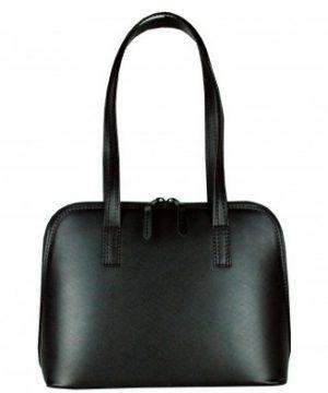Luxusná kabelka z prírodnej hovädzej usne saffiano v čiernej farbe