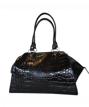 Luxusná kožená lakovaná kabelka č.8616 v čiernej farbe