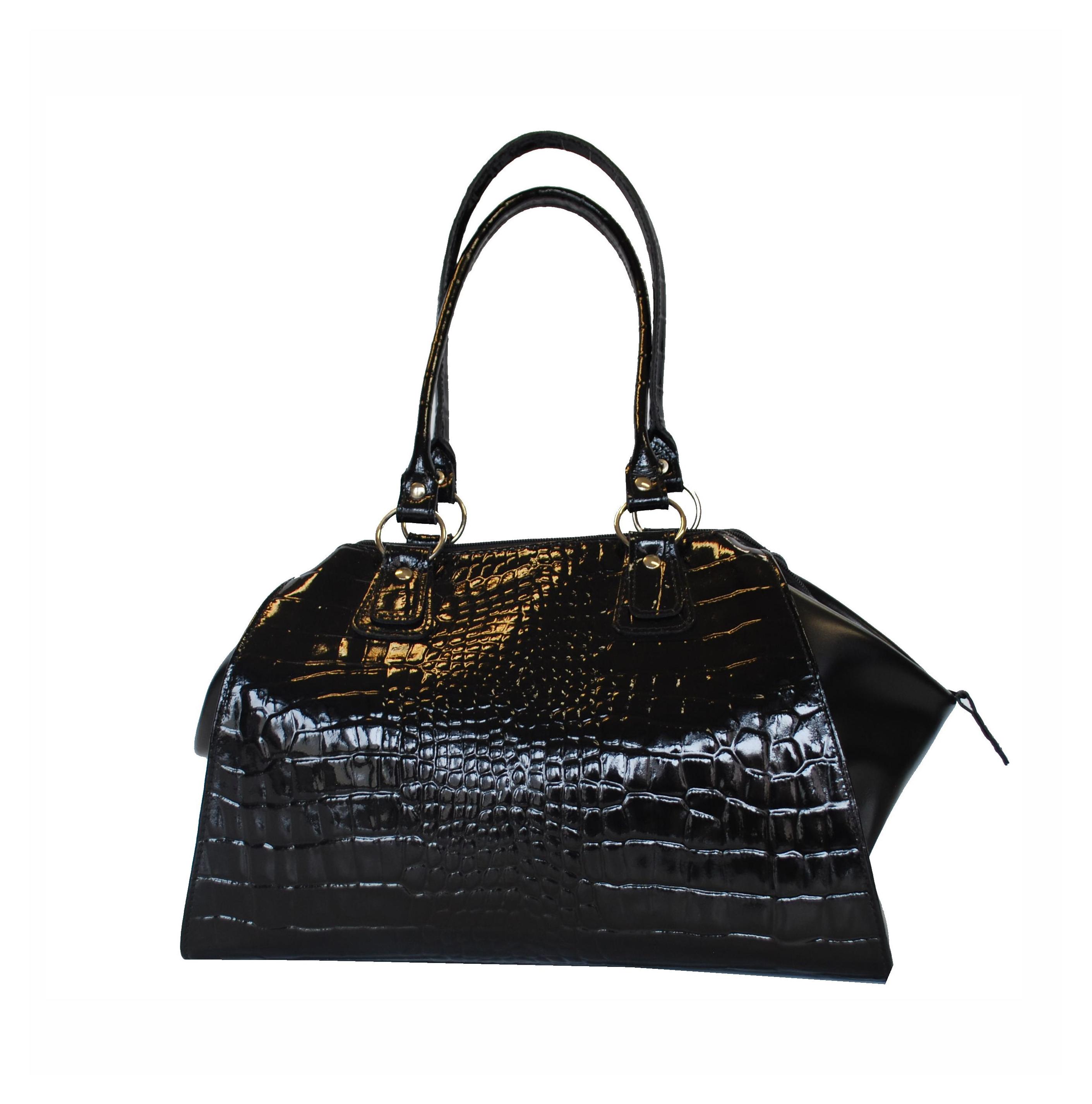 Luxusná kožená lakovaná kabelka č.8616 v čiernej farbe  bd333029b34